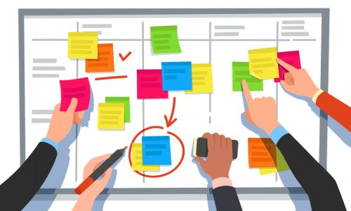 Scrum board. Task list, planning team tasks and collaboration plan flowchart. Business workflow scheme, note board schedule or software development strategy cartoon vector illustration